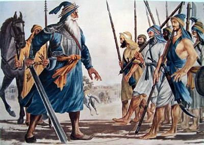 Baba Deep Singh Ji Drawing a Line for Sikhs